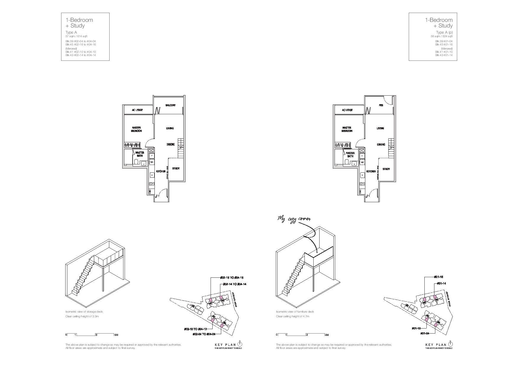 Mon Jervois 1 Bedroom + Study Floor Plans