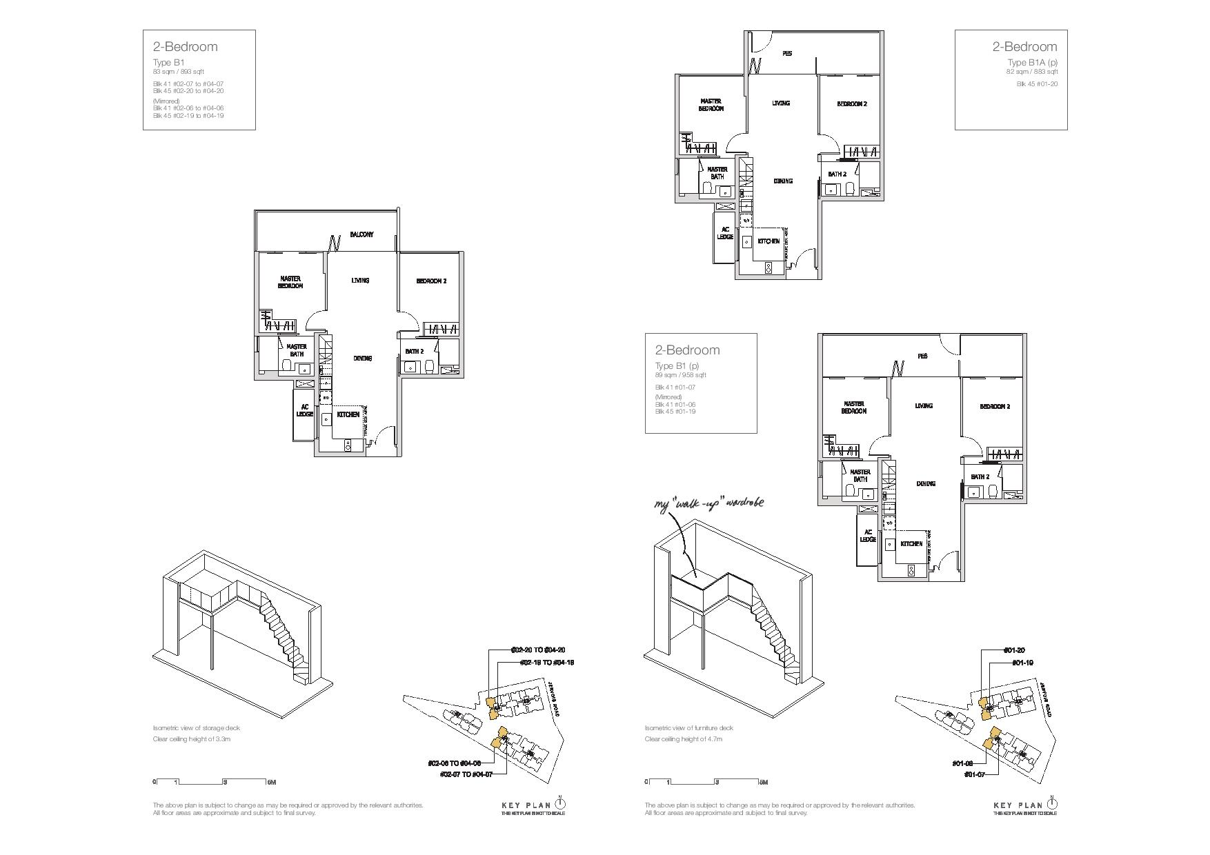 Mon Jervois 2 Bedroom Floor Plans Type B1, B1A(p), B1(p)