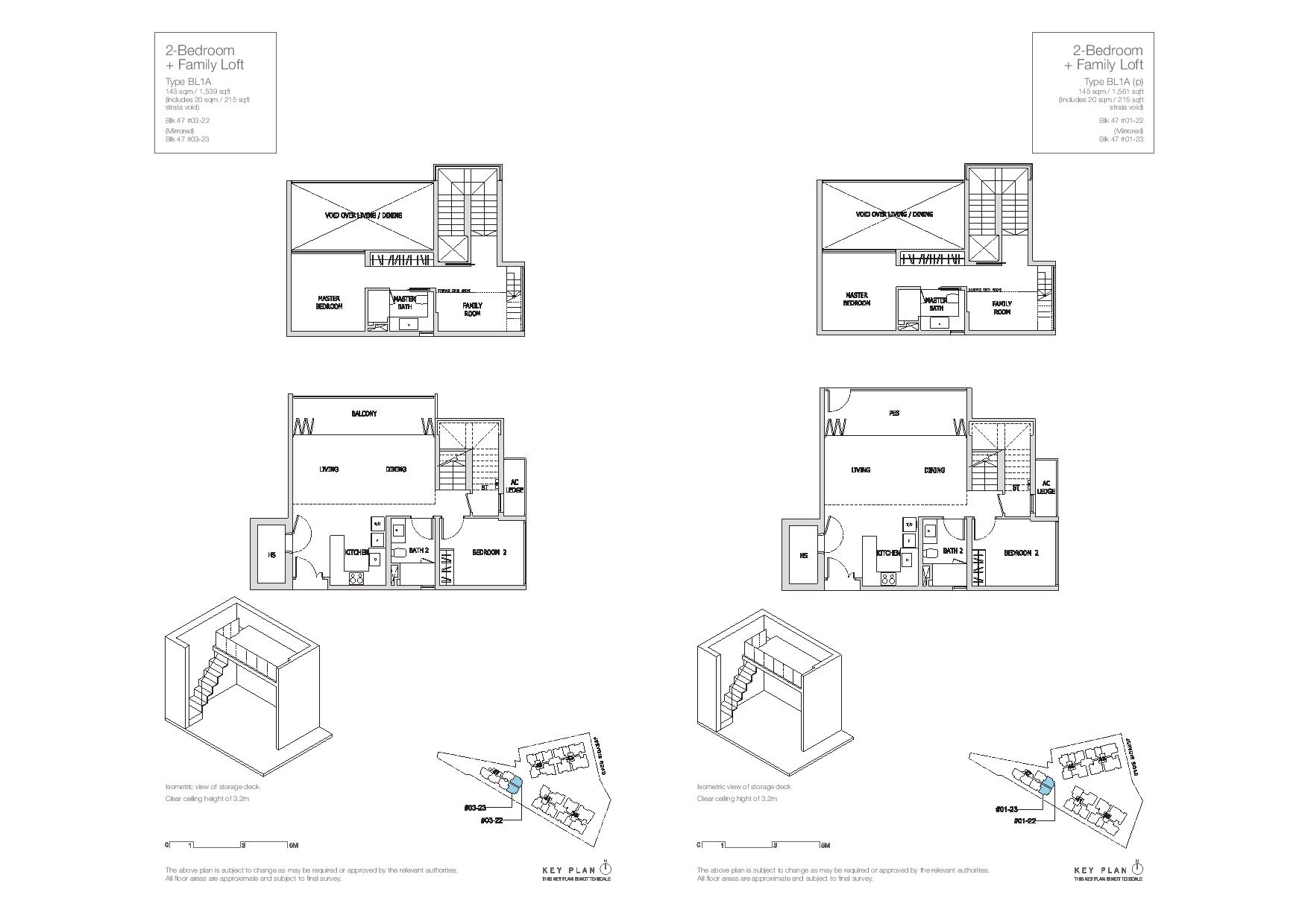 Mon Jervois 2 Bedroom + Family Loft Floor Plans Type BL1A, BL1A(p)