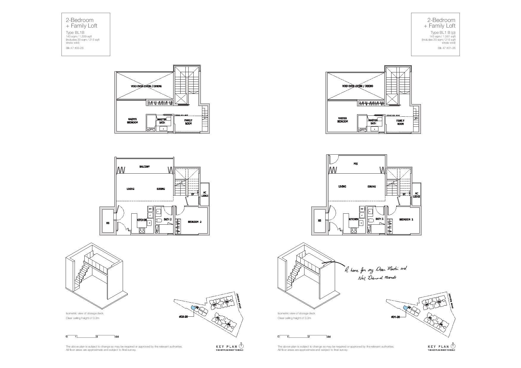 Mon Jervois 2 Bedroom + Family Loft Floor Plans Type BL1B, BL1B(p)