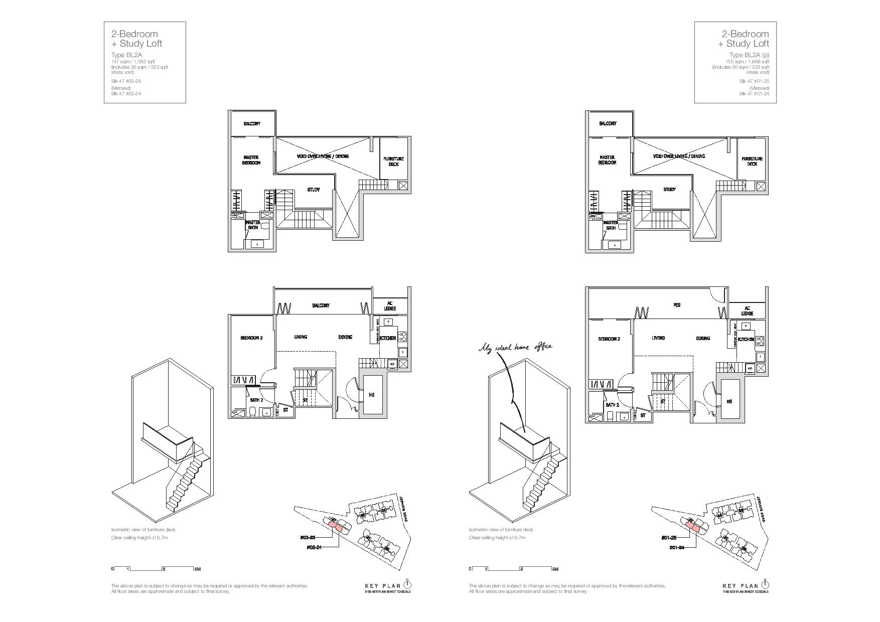 Mon Jervois 2 Bedroom + Study Loft Floor Plans Type BL2A, BL2A(p)