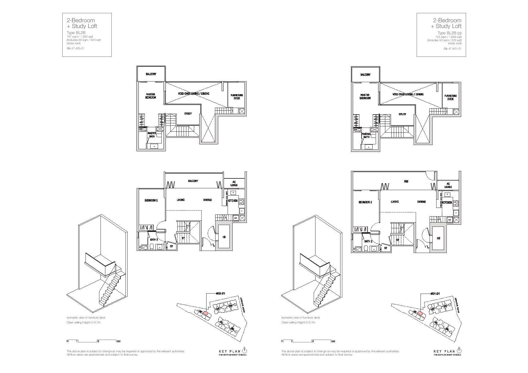 Mon Jervois 2 Bedroom + Study Floor Plans Type Type BL2B, BL2B(p)