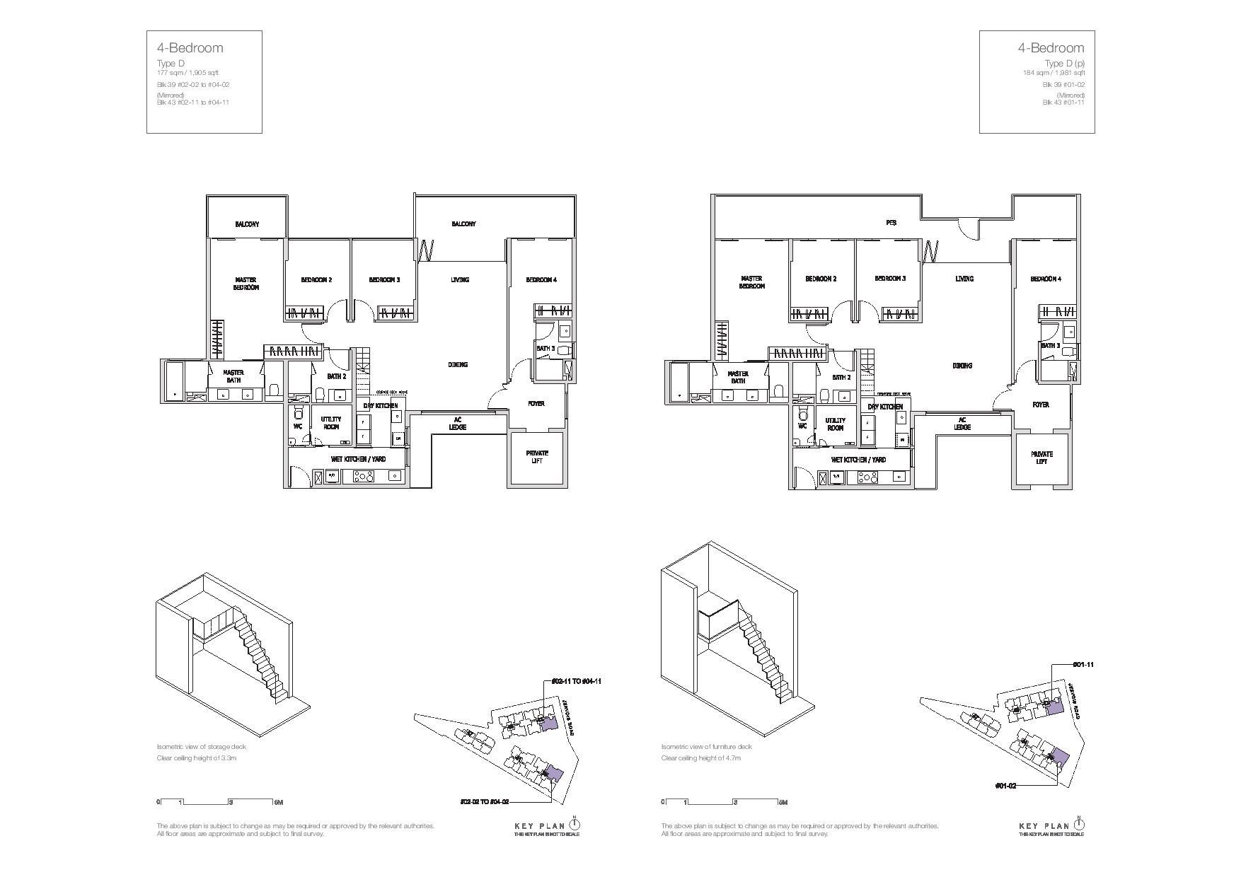Mon Jervois 4 Bedroom Floor Plans Type D, D(p)