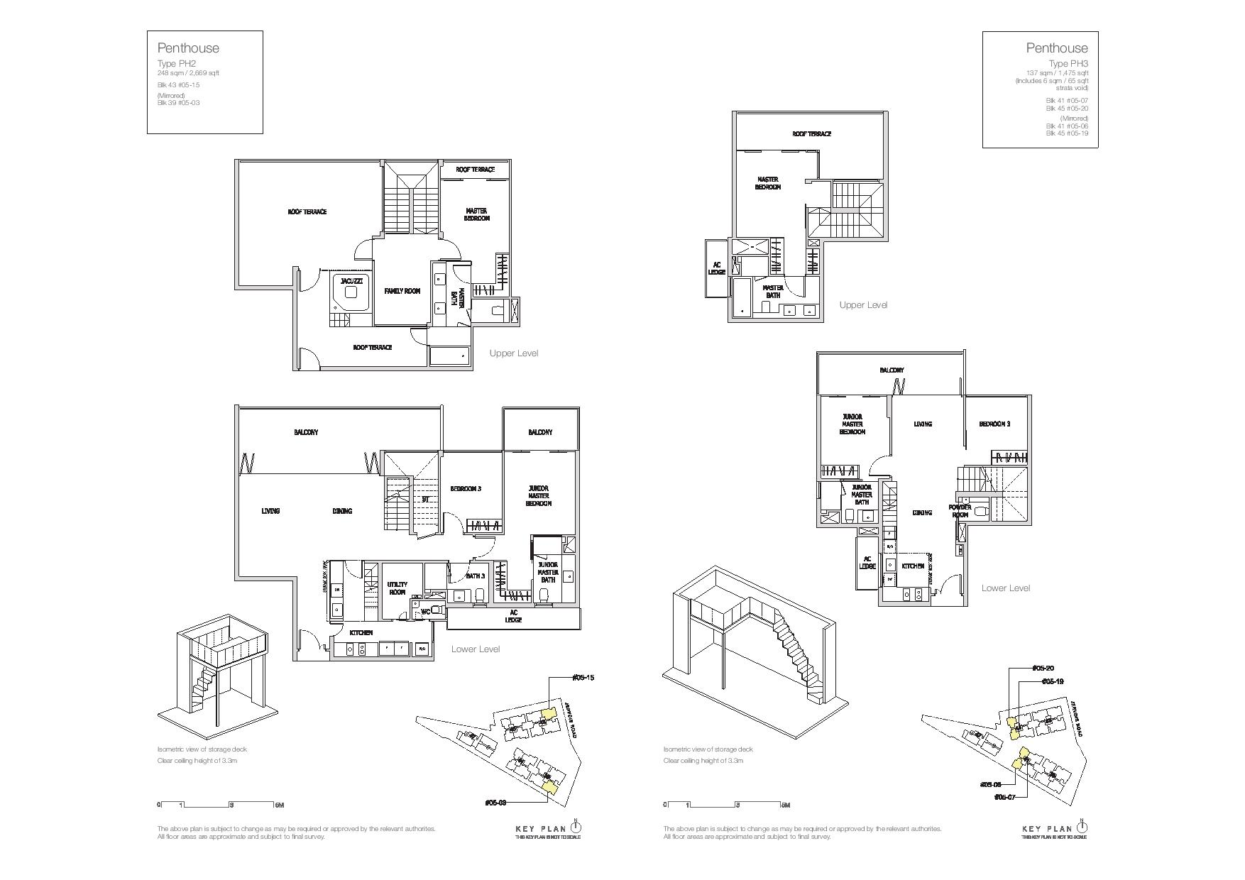 Mon Jervois Penthouse Floor Plans Type PH2, PH3