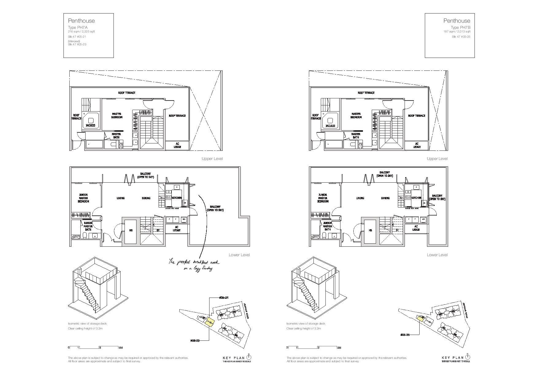 Mon Jervois Penthouse Floor Plans Type PH7A, PH7B