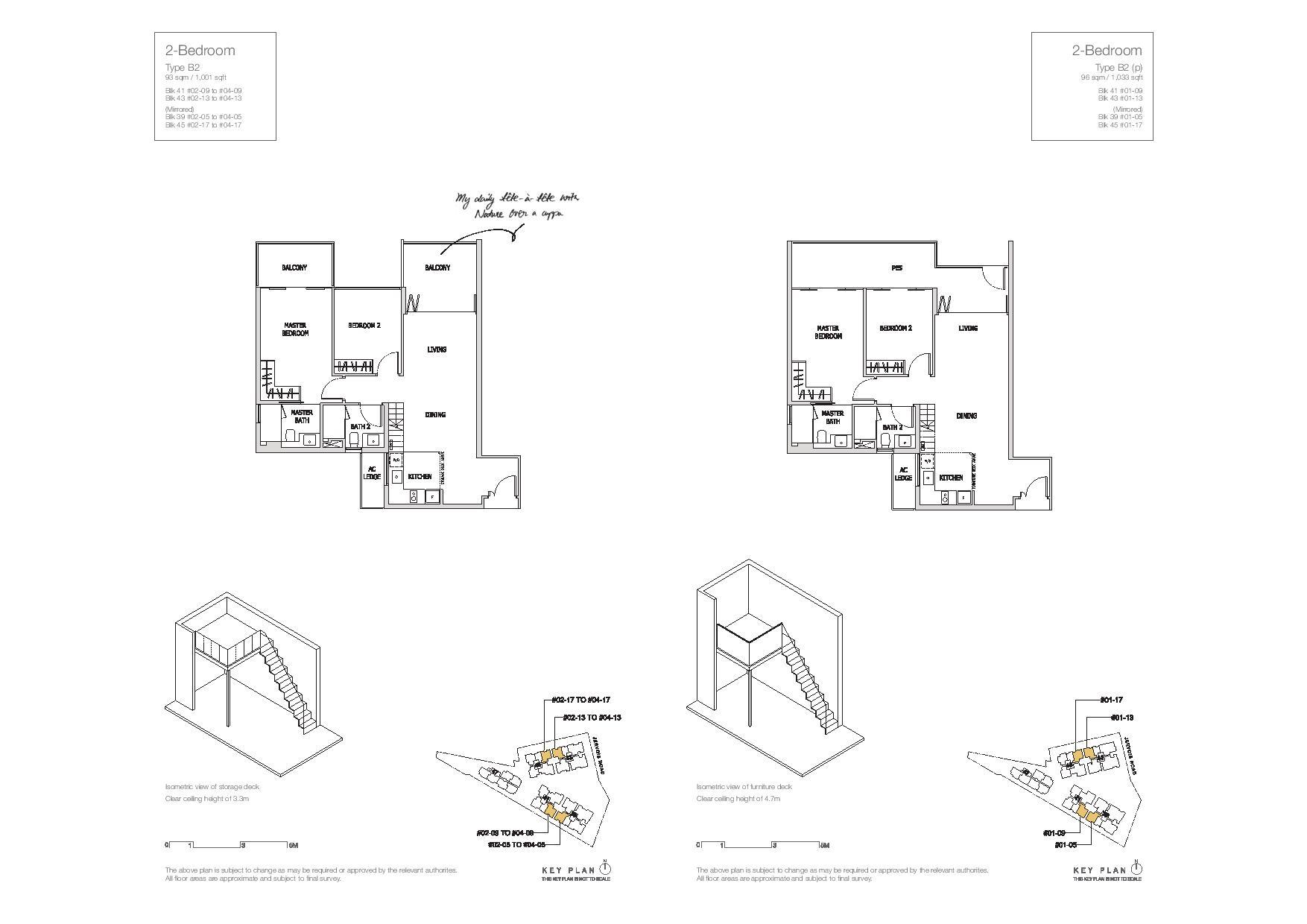 Mon Jervois 2 Bedroom Floor Plans Type B2, B2(p)